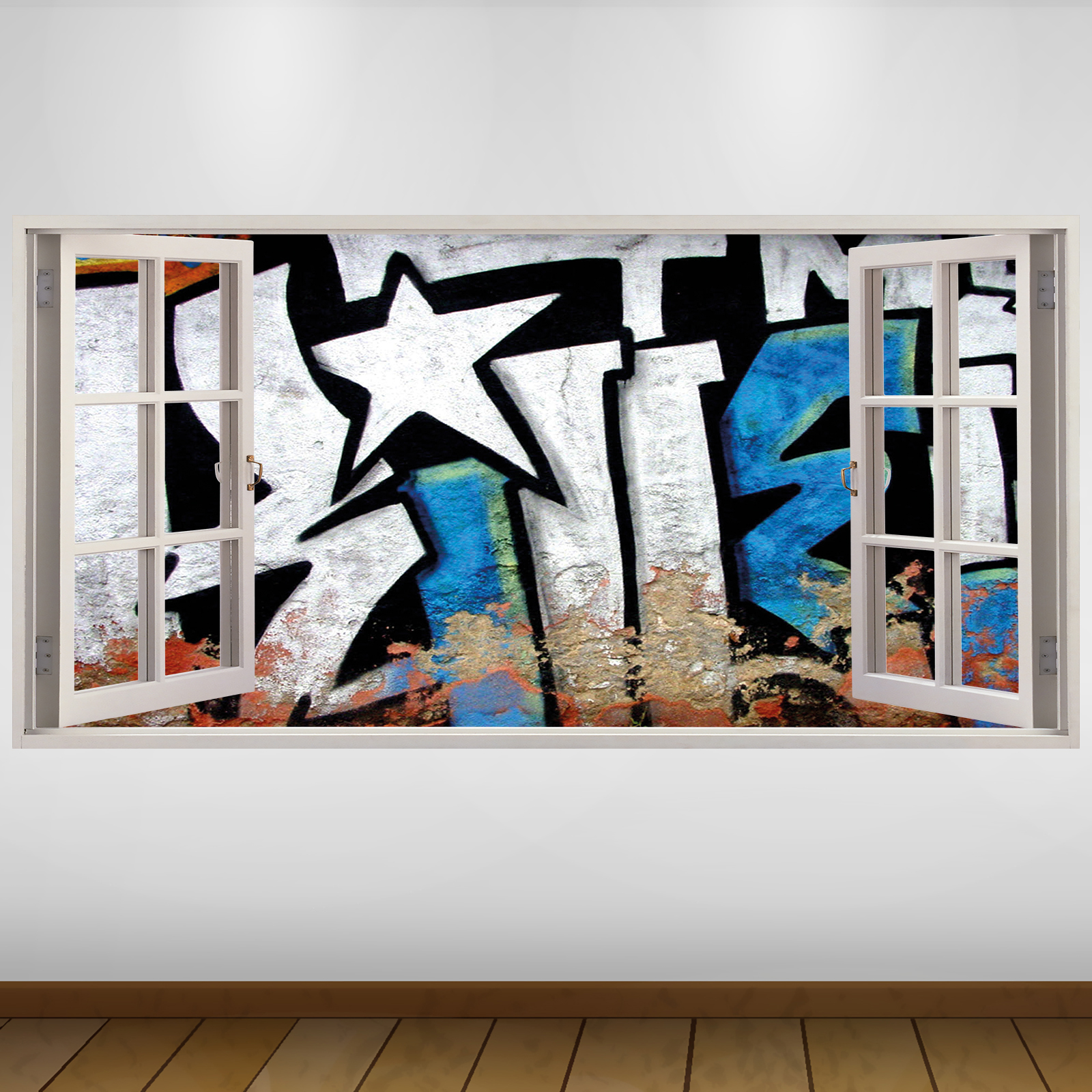 Extra large white blue letters graffiti city 3d vinyl wall for 3d vinyl letters