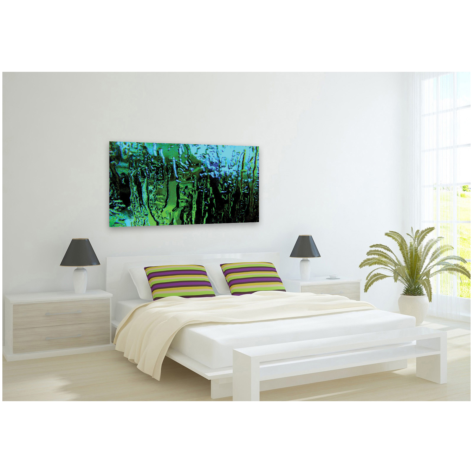 Extra large green glass modern abstract acrylic glass wall for Large glass walls