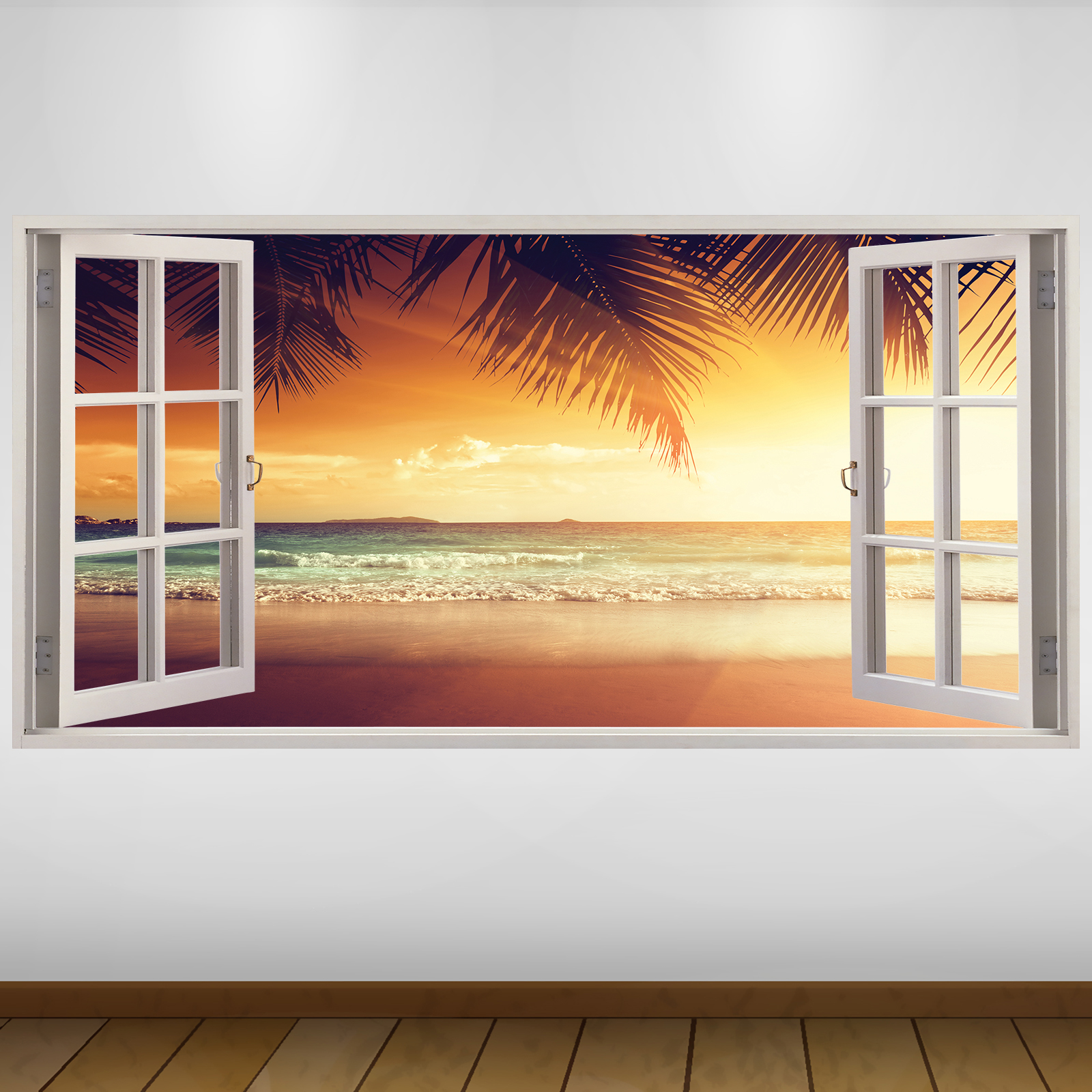 EXTRA LARGE Orange Beach Sunset Nature 3D Vinyl Wall Art Decal ...