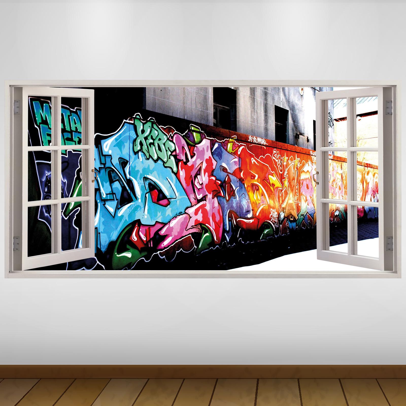 EXTRA LARGE Graffiti Wall City 3D Vinyl Wall Art Decal ...